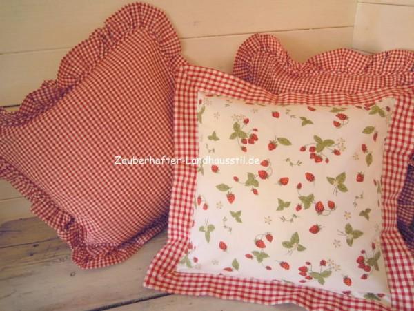 kissenbezug berry 40x40 cm rot creme karo kissenbez ge. Black Bedroom Furniture Sets. Home Design Ideas