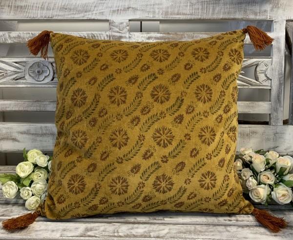 Kissen Bezug Hülle MINA Safran 45 x 45 cm Samt Baumwolle Quasten Landhaus