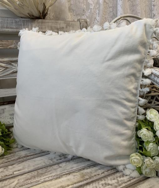 Kissen Bezug Hülle FANNY Offwhite 45 x 45 cm Samt Troddeln Baumwolle Landhaus