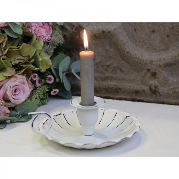 Kerzenleuchter Kammerleuchter, antique weiß Shabby Chic