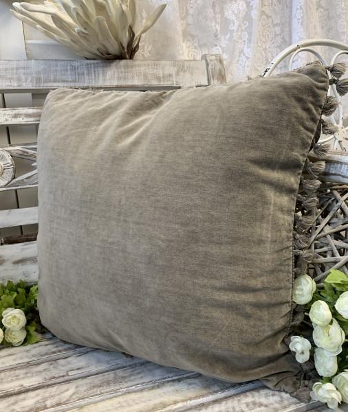 Kissen Bezug Hülle FANNY Sand 45 x 45 cm Samt Troddeln Baumwolle Landhaus