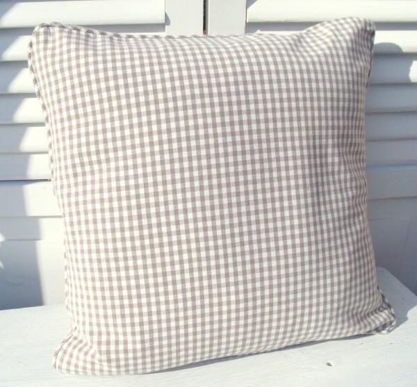 kissenbezug carla sand 45x45 cm vichy karo kissenbez ge. Black Bedroom Furniture Sets. Home Design Ideas