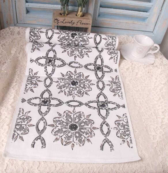 Tischläufer GREECE GRAU 33x120cm weiß grau sand