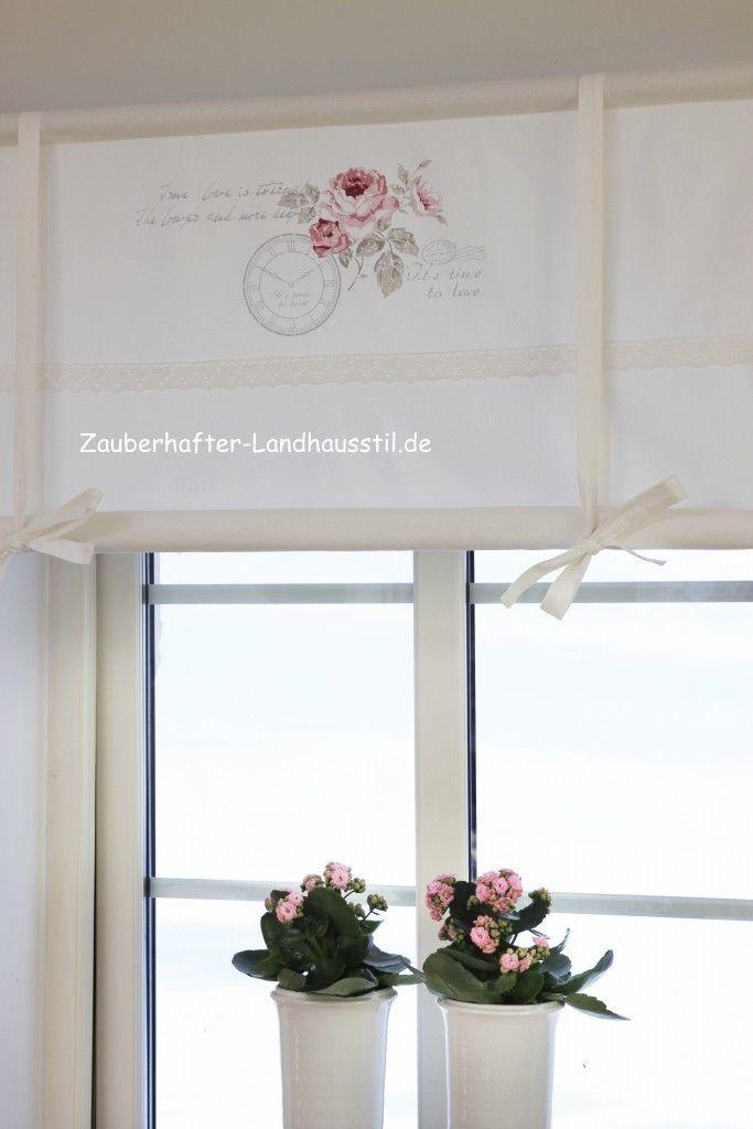 scheibengardine fleur rollo romantik 120 shabby chic vintage style raffgardinen rollos. Black Bedroom Furniture Sets. Home Design Ideas