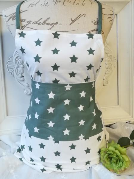 Schürze STARS ca 70 X 85 cm - weiß grau grüne Sterne
