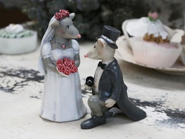 DEKO MÄUSE Hochzeit Antrag 2er Set Torte Tisch Tiere Nostalgie