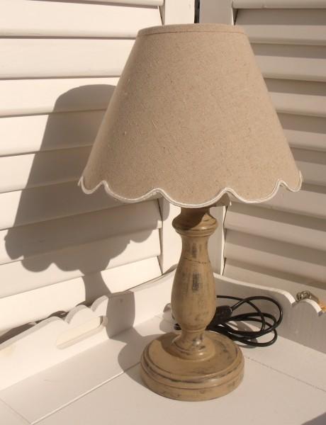 Tischleuchte Holz BOGEN LEINEN Designer Lampe braun grau gewischt E27