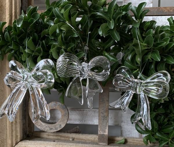 Christbaumkugel Hänger Schleifen Weihnachten Deko Akrylglas 3er Set