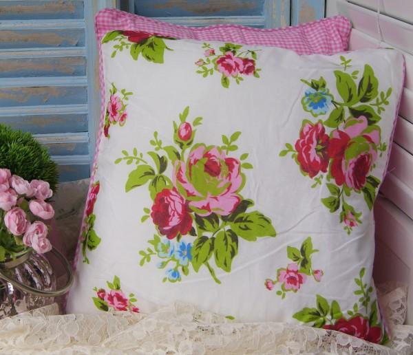 Kissenbezug ROSEN Design 45x45 cm PINK oder BLAU Blumen floral Vichy Shabby Baumwolle