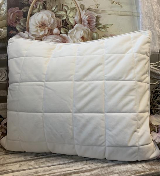 Kissen Bezug Hülle VELOUR OFFWHITE 50x60 cm Kuschel Steppkissen Polyester