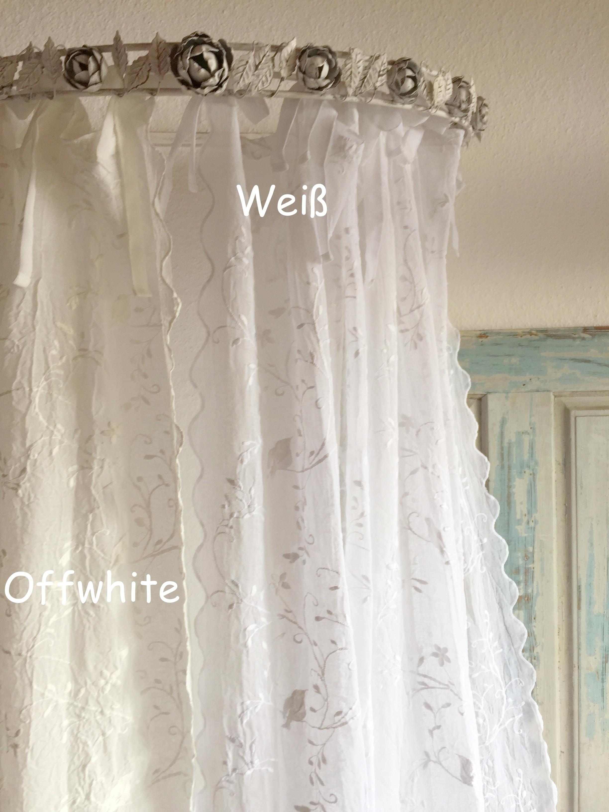 gardinen schal bird bestickt offwhite 200x250 oder 200x300 cm shabby vintage landhaus spitzen. Black Bedroom Furniture Sets. Home Design Ideas