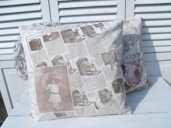 kissenbezug aurelia nostalgie 50x50 cm sepia. Black Bedroom Furniture Sets. Home Design Ideas