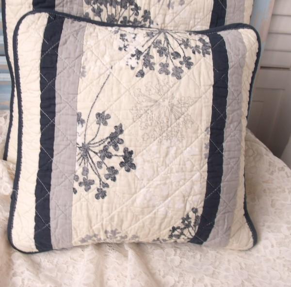 Kissenbezug Pusteblume 40x40 cm blau creme grau Blumen floral Baumwolle