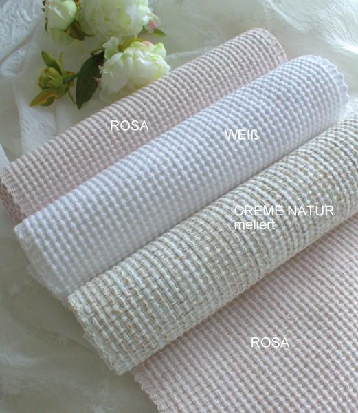 Tischläufer COCO Rosa Weiß Offwhite 35x120 Landhaus Loft Shabby Baumwolle