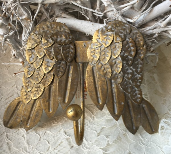 Wandhaken GOLDEN WINGS Engel Flügel Metall