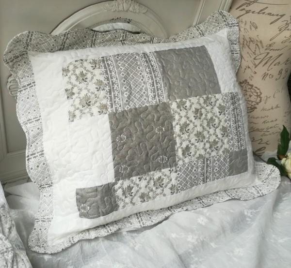 Kissenbezug Hülle AVA 50x60 cm Grau Offwhite Deko Kissen Bezug Landhaus Polyester