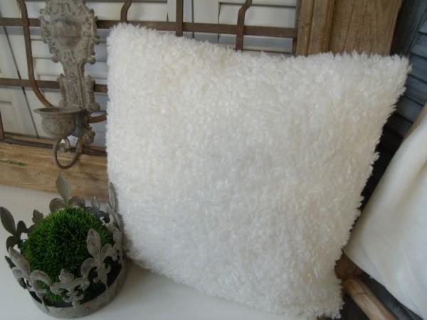 Kissenbezug ALEX WOLLWEISS 45x45cm Plüsch Lammfelldesign Polyester