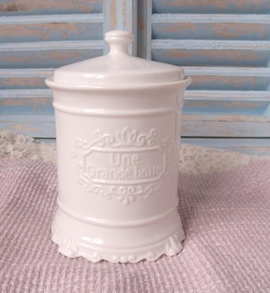Keramik Vorratsbehälter mit Deckel 22x15cm Landhaus Shabby Chic