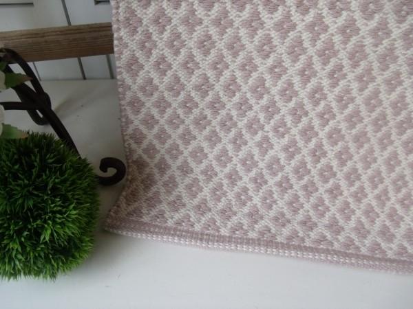 Teppich Läufer RAUTE rosa creme Webteppich 70 x 200 cm
