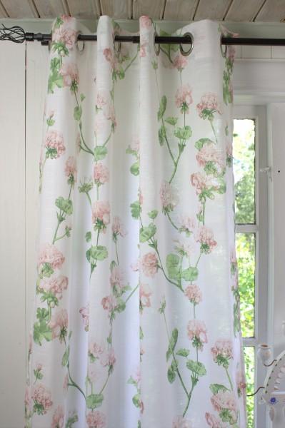 Vorhang Gardine ALESSIA Rosa Weiß 115x240cm 2 Stück Ösen Gardinenschals Blumen Landhaus