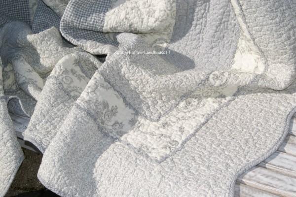 Tagesdecke Z JANE 260x260 cm Grau Creme Plaid Toile