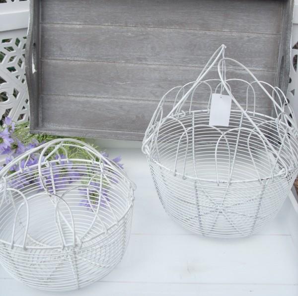 Draht Korb Eierkorb Groß oder Klein rund 25cm + 20cm Metall Aufbewahrung Landhaus Vintage Shabby