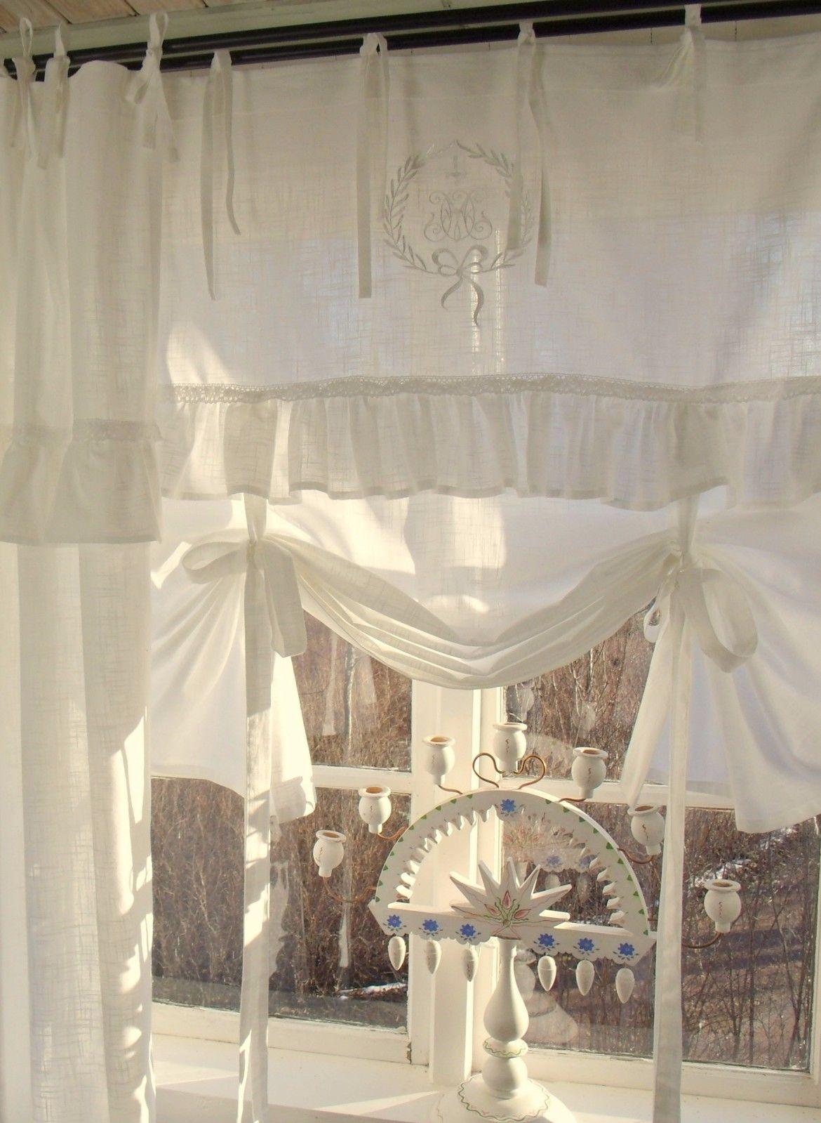 Raff gardine lara offwhite 160x120 cm volant bestickt raffgardinen rollos gardinen - Raffgardinen landhausstil ...