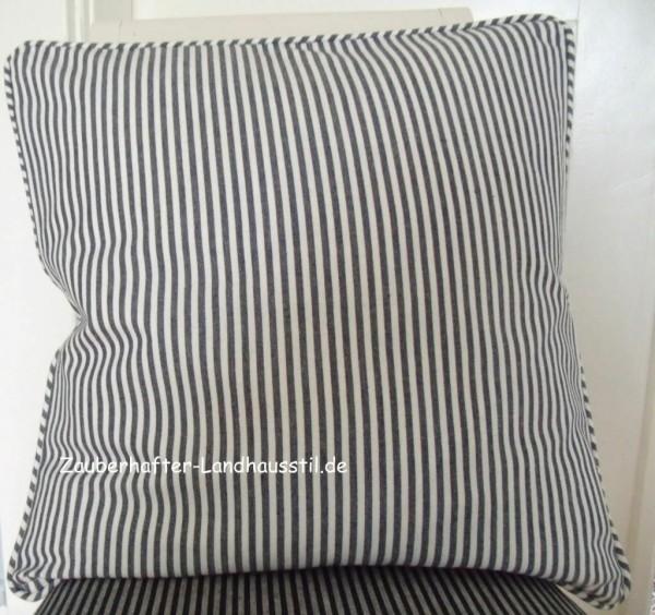 Kissen Bezug Hülle Pamela MARINE BLAU Streifen 45 x 45 cm Baumwolle Landhaus