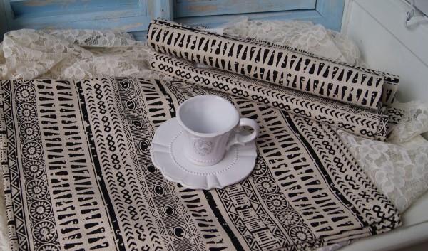Tischset Platzset INKA Schwarz Natur 35x45 cm 2 Stück Landhaus Loft Shabby