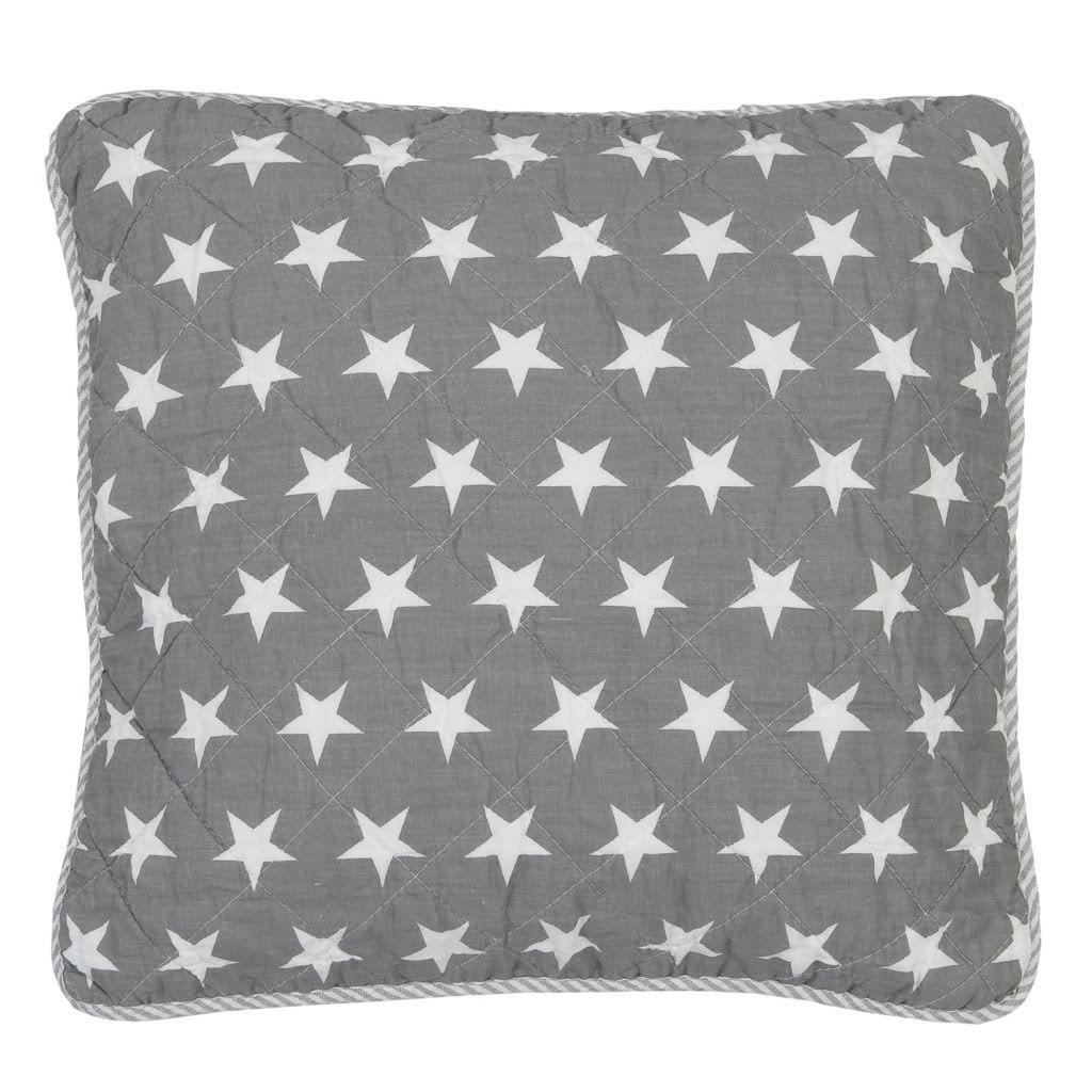 kissenbezug grey stars 40x40cm grau creme sterne kissenbez ge kissen zauberhafter landhausstil. Black Bedroom Furniture Sets. Home Design Ideas