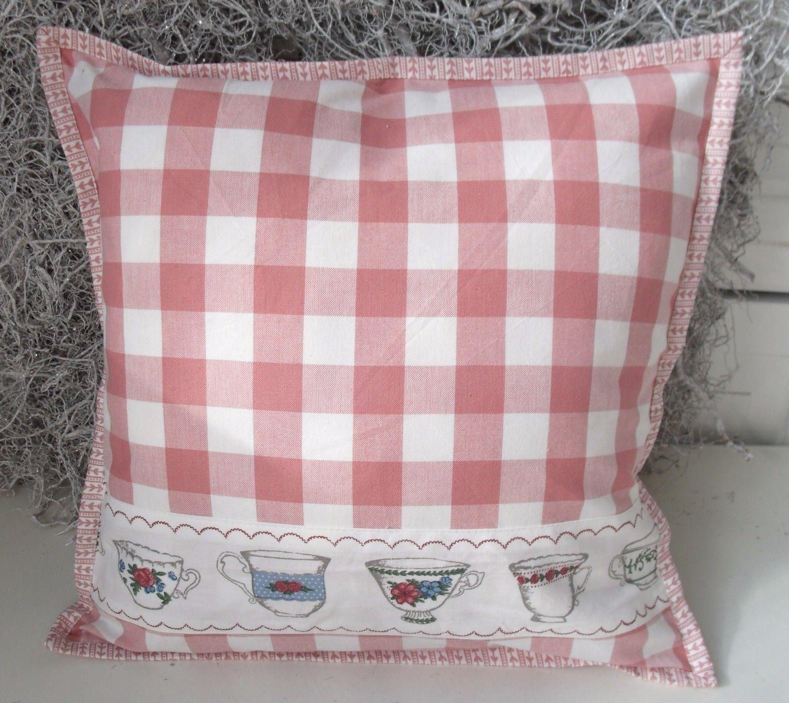 kissenbezug cup 40x40 cm creme rosa karo kissenbez ge. Black Bedroom Furniture Sets. Home Design Ideas
