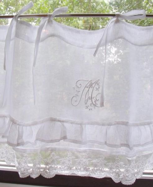 Scheibengardine MARIELLA VOLANT Leinen Bistro 140 oder 160x45 Weiß Shabby Brocante Vintage