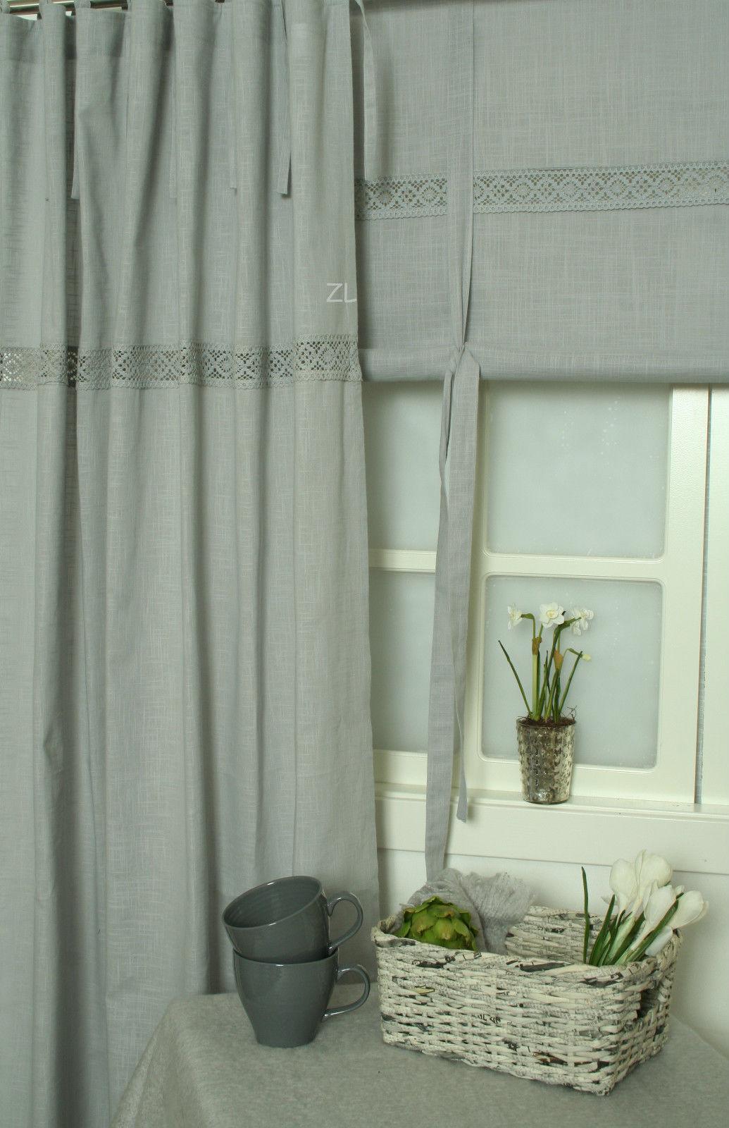 vorhang lina grey gardine grau 120x240 cm 2 st ck. Black Bedroom Furniture Sets. Home Design Ideas