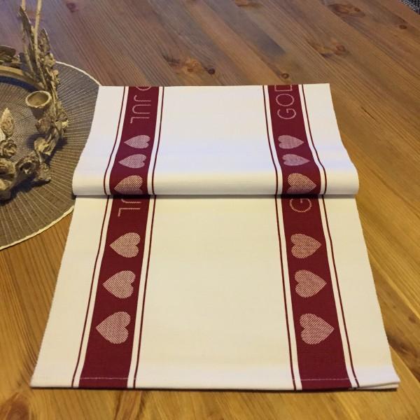 Tischläufer GOD JUL Herzen rot weiß 33x120