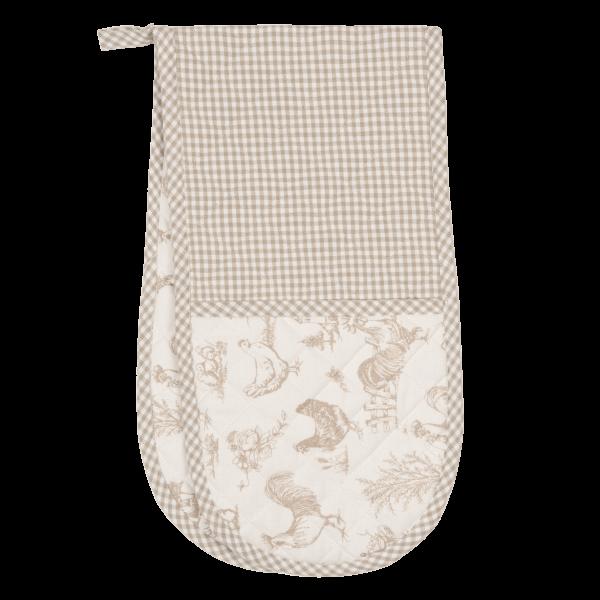 Doppel Topflappen Backofen Handschuh CHICKEN beige-braun Landhaus Cottage