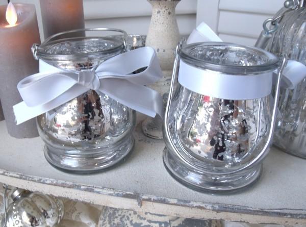 Teelichthalter Glas BÜGEL 2er Set Bauernsilber Satinband Weihnachten Advent