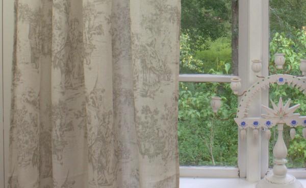 Vorhang Toile Sand Beige Gardine 140x240 2 Stück Romantik Landhaus Shabby