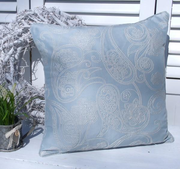 Kissenbezug ICE BLAU 45x45 cm Allover Ornament Stickerei Edel Polyester