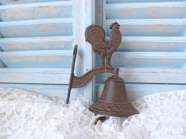 Wand Tür Glocke HAHN Gusseisen antik braun Nostalgie Vintage Einzelstück
