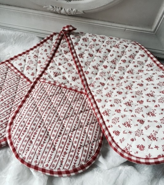 Doppel Topflappen Backofen Handschuh LITTLE FLOWER rot creme Landhaus Cottage