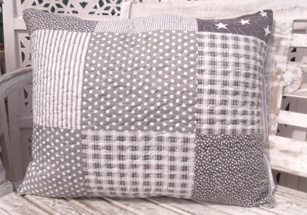 Kissenbezug STARS USA Grau Weiß 50x60 cm Sterne Landhaus Polyester