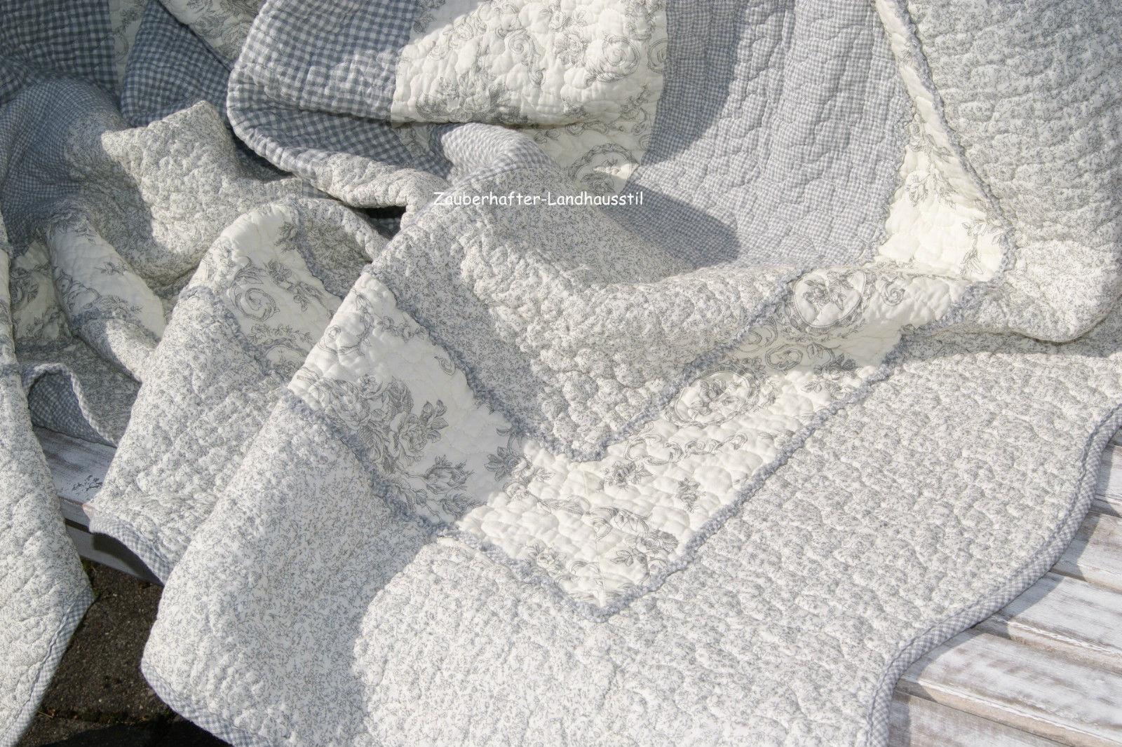 tagesdecke jane 180x260 cm grau creme plaid toile tagesdecken sofa berw rfe decken. Black Bedroom Furniture Sets. Home Design Ideas