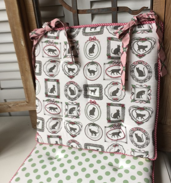 Stuhlkissen TARA rosa weiß grün 40x40 cm Baumwolle Polyester