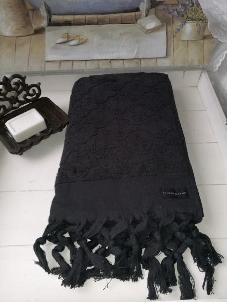 Duschtuch Bade Handtuch DINA Schwarz 70 x140 cm Fransen