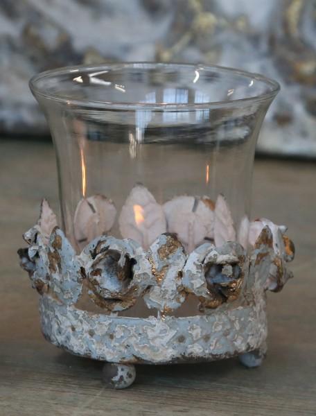 Teelichthalter FRENCH ROSE antique creme 11x9 cm Vintage Shabby
