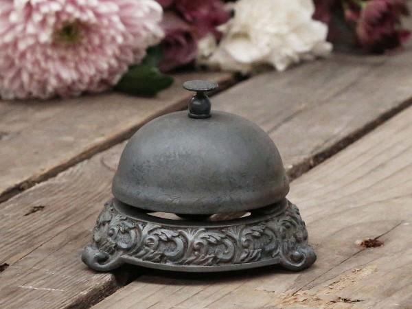 Glocke Tresen Hotel Portier Tisch Antik Guss Metall graubraun