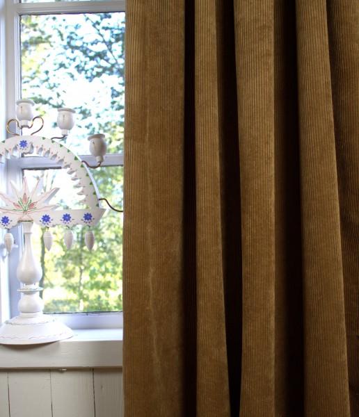 Vorhang SUNA Kord COGNAC 140x250 cm 2 Stück Blickdicht Gardinen Schals Set Landhaus