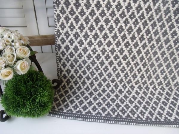 Teppich Läufer RAUTE grau creme Webteppich in 2 Größen