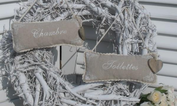 Türhänger TOILETTE oder CHAMBRE Baddeko Baumwolle Bestickt sand