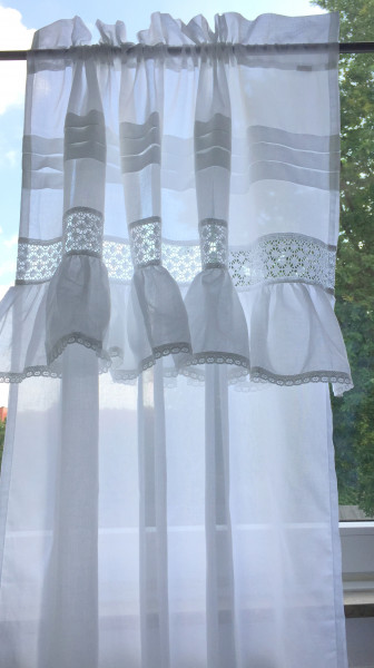 ISABELLA WEISS Gardine 120x250 cm 2 Stück transparent Gardinenschals Set